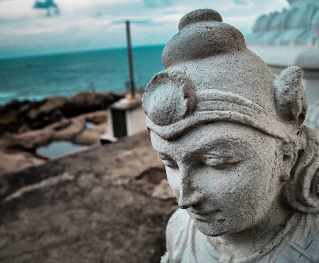 Close up of Queen Viharamahadevi's statue