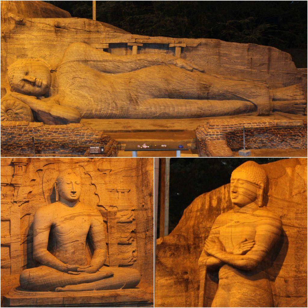 Reclining, meditating & standing Buddha statues at Gal Vihara