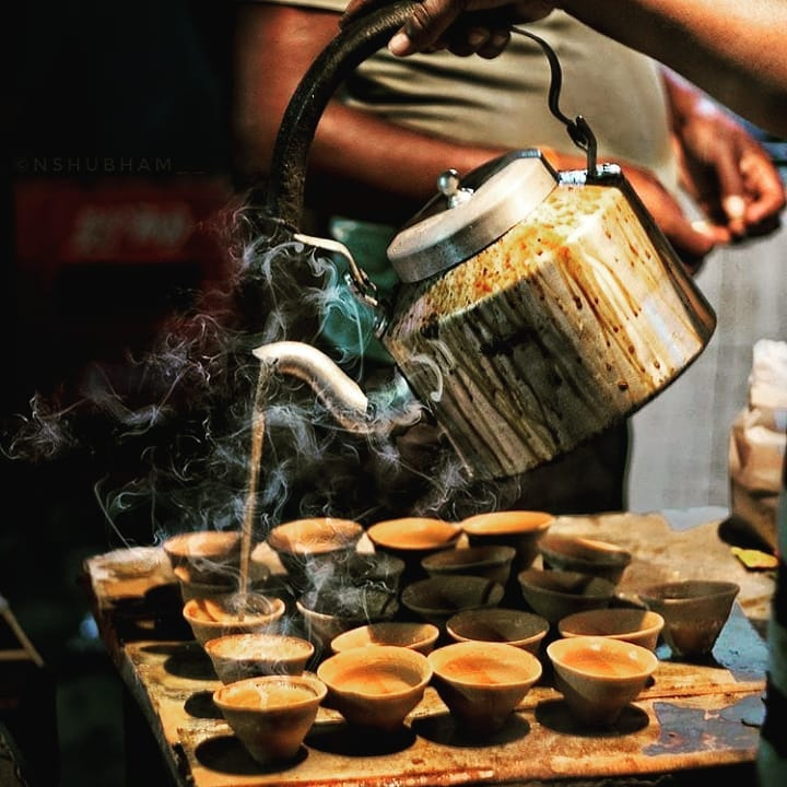 Tea in clay cups in Kolkata